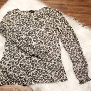 Theory Printed Silk Blouse Top, Size Medium